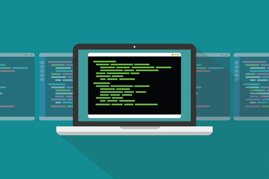 command line interface cli programming language concept with laptop and code programming - vector illustration