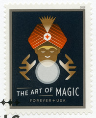 USA - 2018: shows fortune teller using a crystal ball, prediction, series The art of magic, forever