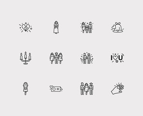 Love icons set. Girlfriend and love icons with bell, two girls with boy and greeting card. Set of mother for web app logo UI design.