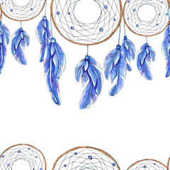 Watercolor hand drawn template of dreamcatcher and feathers.