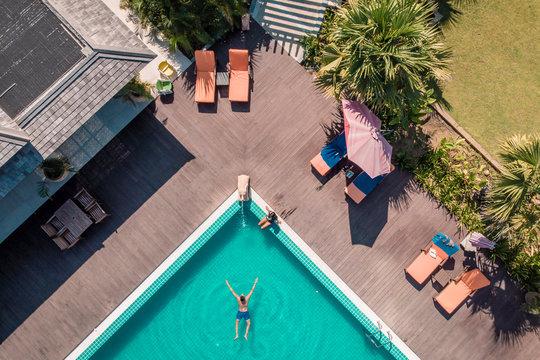 drone view pool man swimming pool Myanmar Asia