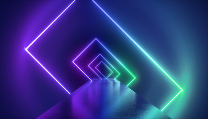 3d render, virtual reality environment, neon light, rectangular portal, tunnel, ultraviolet spectrum, abstract background, laser show, fashion catwalk podium, path, way, stage, floor reflection