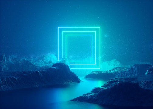 3d render, abstract esoteric background, rectangular portal, glowing square frame, blue neon lights, virtual reality, energy source, blank space, laser show, smoke, fog, ground