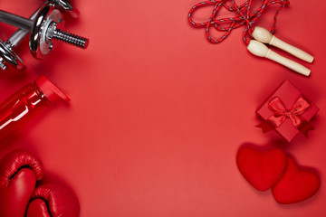 Sport equipment and red hearts. Fitness.