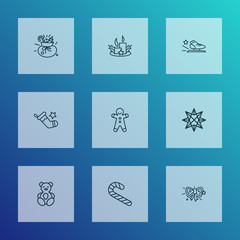 New icons line style set with racing skates, teddy bear, origami and other paraffin  elements. Isolated vector illustration new icons.