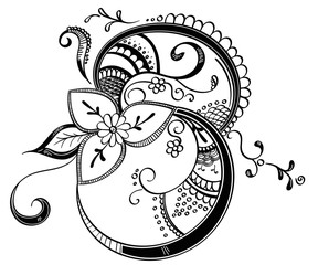 Henna Style Decorative Floral Decal
