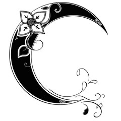Henna Style Decorative Moon Floral Decal