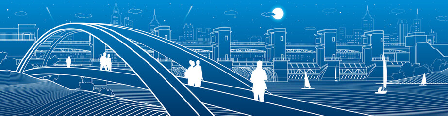People walking at pedestrian arched bridge across water. Hydro power plant. River dam, energy station. City infrastructure industry illustration. White lines on blue background. Vector design art