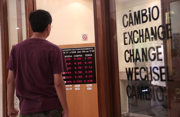 Foreign currencies exchange rates are displayed in Sao Paulo