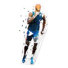 Run. Sprinting man, low polygonal geometric illustration. Vector running man, front view