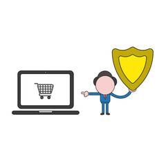 Vector illustration of businessman character holding guard shield and pointing shopping cart inside laptop computer. Color and black outlines.