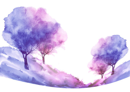 Watercolor tree of pink, purple color on a white isolated background. Single cherry sakura pink tree isolated. Hill, hillock, suburban landscape. Handmade drawing. Ecological art illustration.
