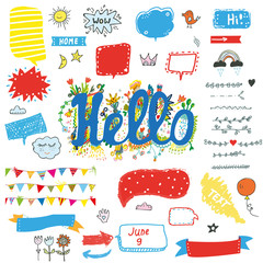 Hello funny stickers and posters set for kids, vector graphic illustration