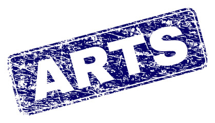 ARTS stamp seal print with distress style. Seal shape is a rounded rectangle with frame. Blue vector rubber print of ARTS tag with dust style.