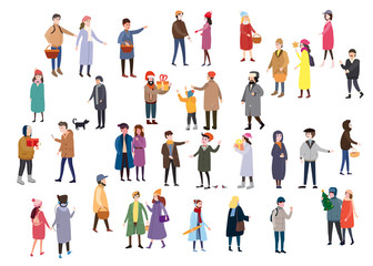 Large set of tiny people, characters, dressed in winter clothes or outerwear, walks and performs outdoor activities. Greet each other, make purchases, talk. Bustle and scurry in the streets before