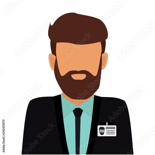 Businessman with beard in business suit with badge. User