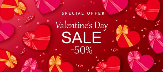 Valentine's day sale background with red hearts, gift box. Romantic design for flyer, card, invitation, poster, banner.