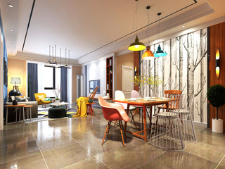 3d render os dining space