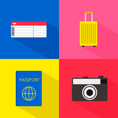 Travel concept flat illustrates with boarding pass passport luggage and camera