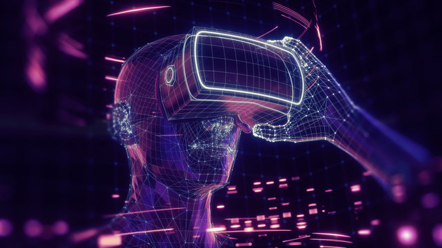 3D render of virtual man holding virtual reality glasses surrounded by virtual data with neon ultraviolet lines. Player begins the VR game. VR experience.