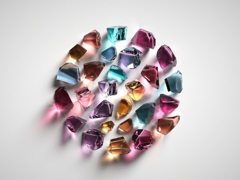 3d render, assorted colored spiritual crystals isolated on white background, fashionable wallpaper, reiki healing quartz, rough nuggets, faceted gemstones, semiprecious gems, round shape