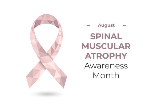 Spinal muscular atrophy pale pink awareness month (August) ribbon. Low poly colorful vector illustration for web and printing isolated on white.