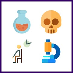 4 medical icon. Vector illustration medical set. skull and flask icons for medical works