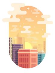 City skyline vector illustration. Urban landscape. Cityscape in flat style. Modern city landscape. Cityscape backgrounds. Sunset in the city. Vertical orientation