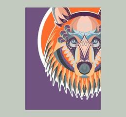 Pop art portrait of agressive bear. Vector illustration art - Vector