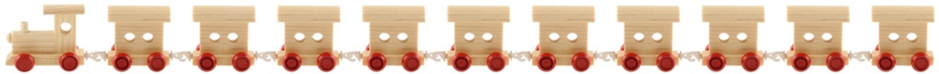 petit train en bois, locomotive et 10 wagons, fond blanc