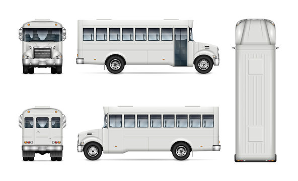 White bus vector mockup for vehicle branding, advertising, corporate identity. Isolated template of realistic autobus on white background. All elements in the groups on separate layers