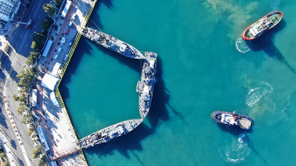 Aerial drone photo of famous Christian ceremony of Epiphany in main port of Piraeus