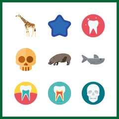 9 mouth icon. Vector illustration mouth set. giraffe and teeth icons for mouth works