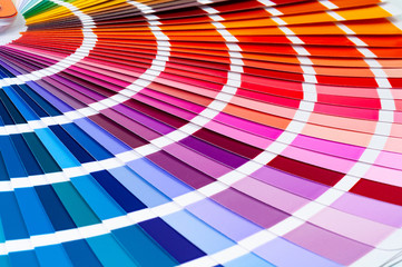 Color fan deck with samples of various paint