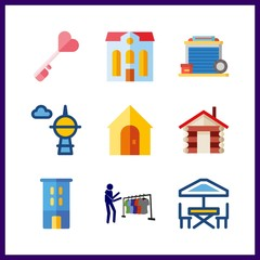 9 estate icon. Vector illustration estate set. buyer and house icons for estate works