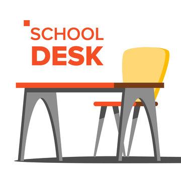 School Desk Vector. Empty Table, Chair. School Education Concept. Isolated Flat Cartoon Illustration