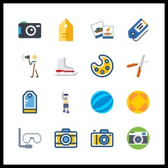 16 hobby icon. Vector illustration hobby set. aqualung and ball icons for hobby works