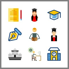 9 college icon. Vector illustration college set. mortarboard and studying icons for college works