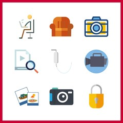 9 camera icon. Vector illustration camera set. photo camera and skype icons for camera works