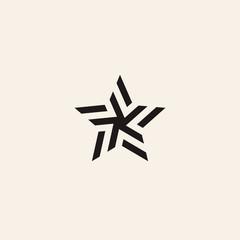 Stylized linear shape star logo design template