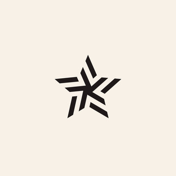 Stylized linear shape star logo design template