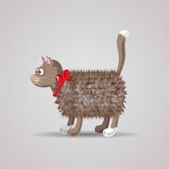 cute funny cartoon fluffy cat with a red bow