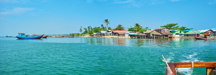 The village from the river, Chaung Tha, Myanmar