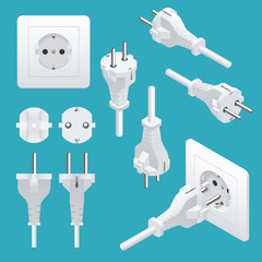 Set od Plugs and Sockets Type F. Used in Germany, Austria, the Netherlands and Spain among others. View front and isometric. Vector illustration