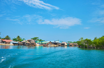 Poor fishing village on Kangy river, Chaung Tha, Myanmar