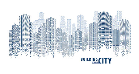Abstract Futuristic City vector, Dots Building in the City.