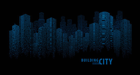 Fototapete - Abstract Futuristic City vector, Dots Building in the City.