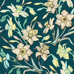 Vintage seamless pattern with hand drawn flowers daffodils, narcissus on light yellow