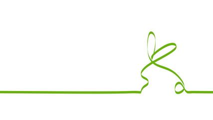 Obraz wielkanocny królik zielona wstęga wektor - fototapety do salonu