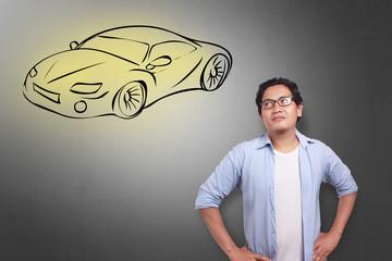 Man Dreaming of Sports Car